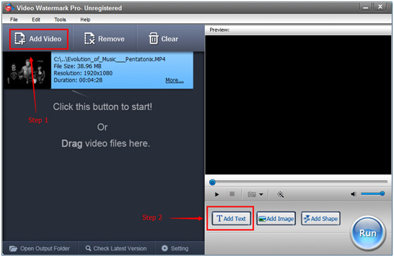 Edit text and put it to video with video text editor