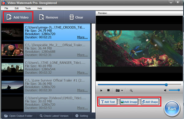 Add Video File to Video Watermark Pro